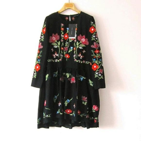 Zara zara embroidered floral dress with slip black s - M a interiorismo cb granada ...